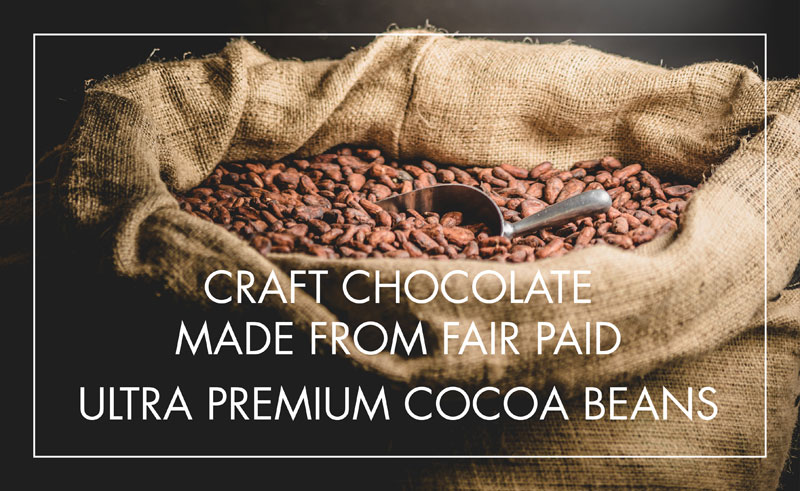 Chraft chocolate made from fair paid ultra premium cocoa beans